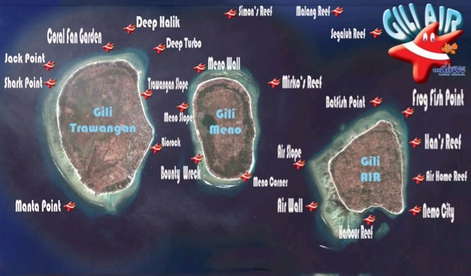 Map sites Gili Air Divers - Gili Meno Divers Gili Trawangan Lombok Bali Indonesia